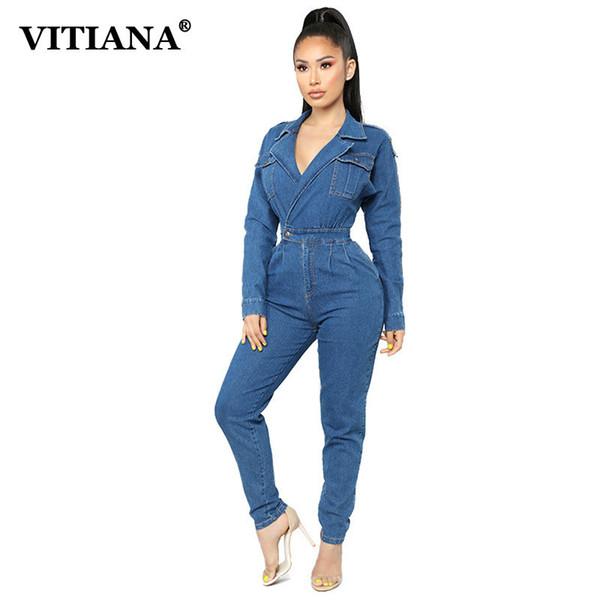 new concept outlet store cheap sale Acheter Vente En Gros Femmes Jeans Combinaison Femme 2019 Automne Printemps  Manches Longues Botton Pocket V Cou Casual Combinaison Cowboy Denim ...