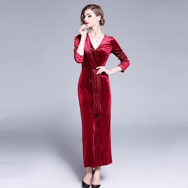 Compre Color Sólido Rojo Otoño Invierno Vestido Mujeres 2019 Casual Vintage Vestido De Fiesta Vestido De Terciopelo Corbata Split Sexy Vestido Largo