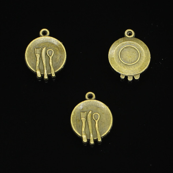 180pcs Charms kitchen tableware fork spoon Antique Bronze Plated Pendants Fit Jewelry Making Findings Accessories 15mm