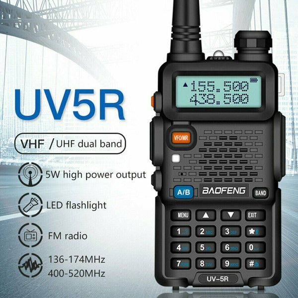 top popular BAOFENG 1.5inch LCD 5W 136~174MHz   400~520MHz Dual Band Walkie Talkie with 1-LED Flashlight Free Shipping 2021