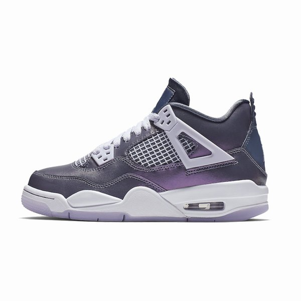 Cheap womens retro 4s basketball shoes Monsoon Blue Purple chameleon new 2019 youth kids j4 air flights jumpman iv sneakers boots with box