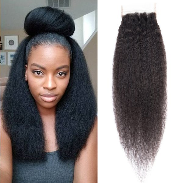 Dressmaker 3pcs Kinky Straight Free Part 4x4 Lace Closure Brazilian Kinky Straight Hair Closure With Baby Hair 100% Non Remy Human Hair