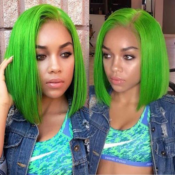 Green Short Lace Front Bob Human Hair Wigs For Black Women Indian Virgin Hair Bob Straight Full Lace Wigs 130% Density