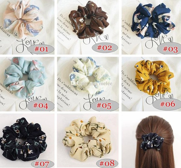 8colors Women Girls Rose floral Color Cloth Elastic Ring Hair Ties Hairbands Accessories Ponytail Holder Hairbands Rubber Band Scrunchies