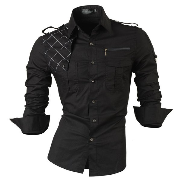 New Fashion Casual Slim Fit Long-sleeved Men's Dress Shirts Korean Styles Cotton Shirt 8371 Q190514