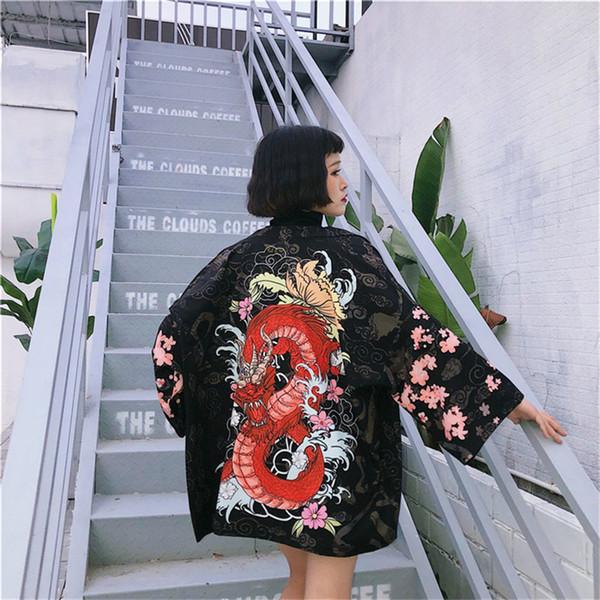 Estilo japonês Mulheres Cardigan Meia Manga Com Decote Em V Quimono Blusas Dragão Chinês Casaco de Impressão Solto Protetor Solar Camisas Tops