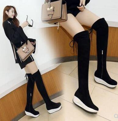 New Arrival Hot Sale Specials Super Fashion Sexy Plus Velvet Trend Black With Box Stretch Elastic Sports Platform Overknee Boots EU34-40