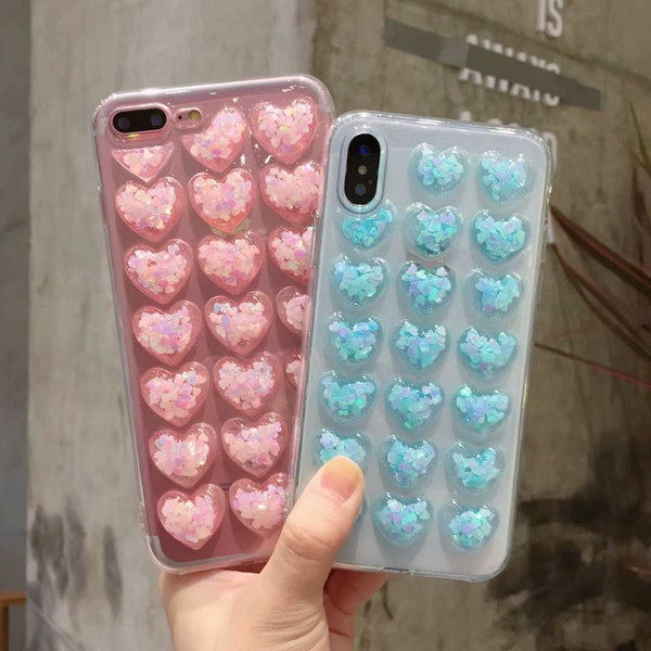 Phone Case For iPhone 6 6s 7 8 Plus X Fashion Cute 3D Love Heart Glitter Bling Clear Soft TPU Case