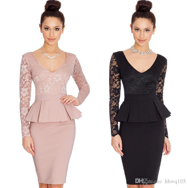 Ladies Peplum Office Work Dress Lace Panel Pencil Skirt Slim Fit Long Sleeve Midi Bodycon Dress Black Pink Autumn Winter Dresses MNDF0512