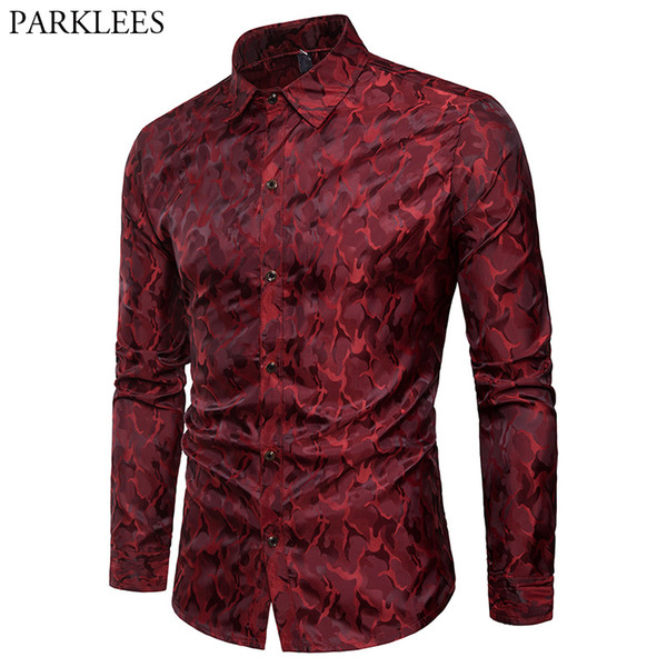 Wine Red Camouflage Camo Silk Satin Shirt Men Slim Fit Long Sleeve Dress Shirts Mens Casual Social Party Club Chemise Homme Xxxl