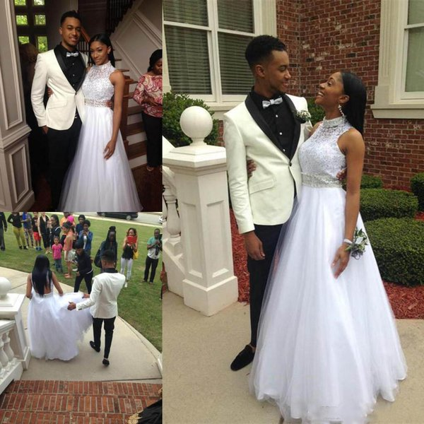 White High Neck Prom Dresses With Beading Sash A Line tulle floor Length custom Made Formal Evening WEars 2019
