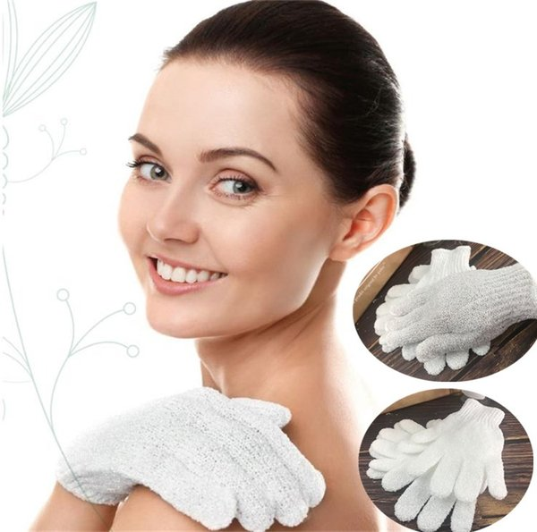 White Nylon Body Cleaning Shower Gloves Exfoliating Bath Glove Five Fingers Bath Bathroom Gloves Bath Brushes Home Supplies 4926