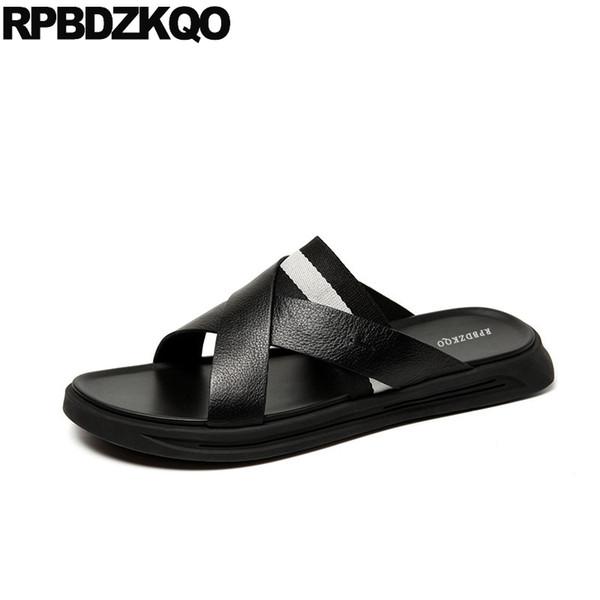 shoes slides black native roman famous brand 2019 strap slip on men gladiator sandals summer genuine leather open toe slippers