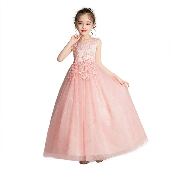 Sweet pink white blue in spring and summer, polyester fiber, cotton lining, vest collar design, back zipper style children's elegant dress
