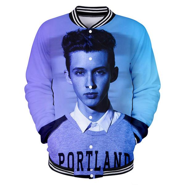 Fashion Print Troye Sivan 2019 Hot Sale 3D Jacket Men Women Long Sleeve Casual Handsome Singer Mellet 3D Baseball Jacket