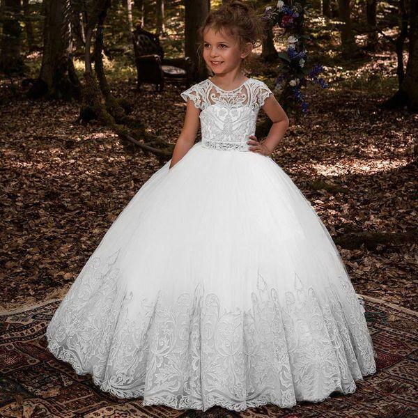 2020 Lovey Santo Lace Princesa Flor esfera Menina Vestidos vestido de Primeira Comunhão vestidos para meninas mangas Tulle criança Vestidos Pageant