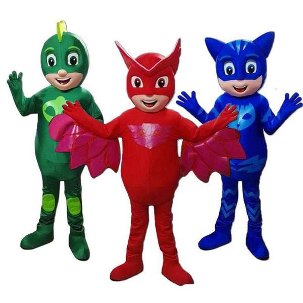 2019 Hohe qualität heißer PJ Mask Maskottchen Kostüm Catboy Parade HalloweenBlue Party Kleid Erwachsene