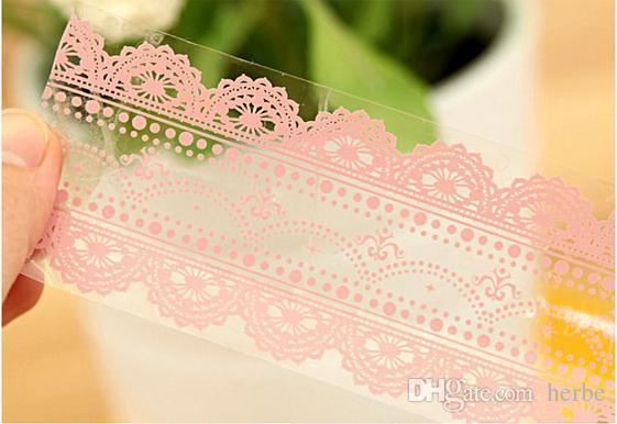 Wholesale- 2016 Freeshipping! New Pink Lace Transparent tape ( Large )sticker Decorative Tape/DIY stationery /Office Adhesive Tape/ Wholes