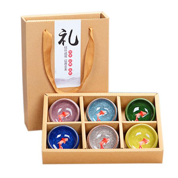 Gelo portátil rachado peixe teacup 30 ml 6 peças Kung Fu Chá Set Caixa De Presente De Cerâmica 24.5x17.5x5.1 cm