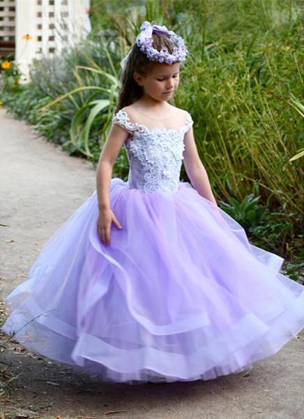 Abiti da sposa Lovely Baby delle ragazze di fiore puro del merletto del collo Appliques -3D principessa partito abiti gonfi di Tulle vestito poco costoso da Comunione