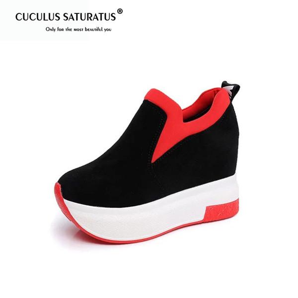 Chaussures habillées de marque Cuculus Spring pour femmes, compensées, plates-formes Mocassins en simili suède à bout arrondi à l'intérieur pour des escarpins à enfiler Casual Femme 1401