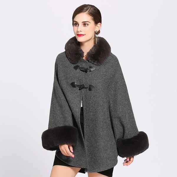 New 2019 Fashion Women Winter Jacket Faux Fur Collar Batwing Sleeve Woolen Warm Cloak Ponchos Cape Coat Wool Blends Outerwear
