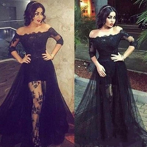 Vintage Black Lace Evening Dresses Off The Shoulder Half Sleeve Illusion Bodice Arabic Formal Party Prom Dress Custom Made