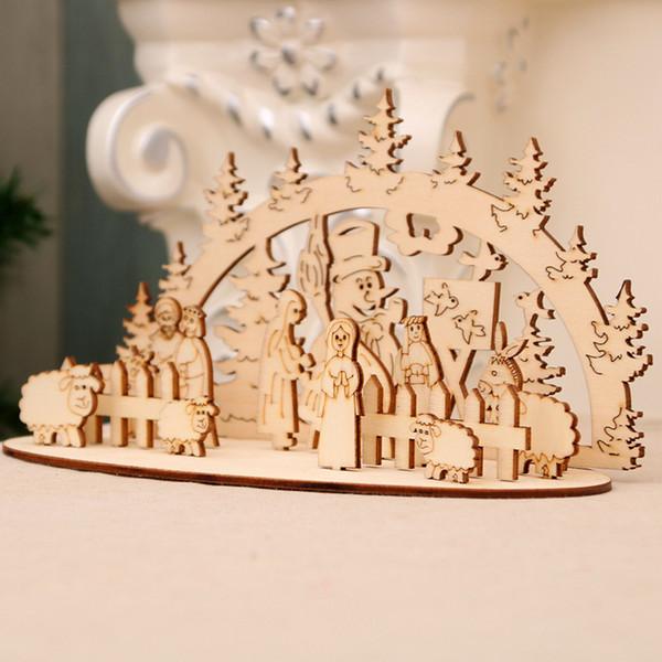 2019 nouvelles fournitures de décoration de Noël exquis puzzle en bois ornements bricolage puzzle en trois dimensions pour donner aux enfants faits à la main cadeaux