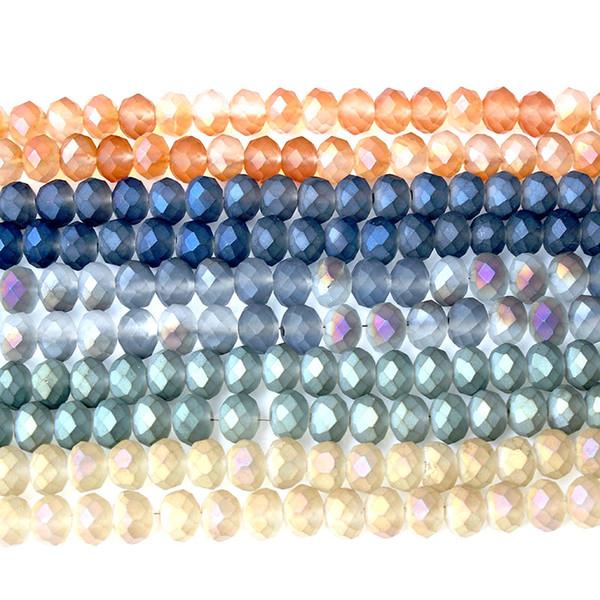 LanLi 4/6 / 8mm multicolore à facettes verre électrolytique Loose Beads série de produits DIY bracelet collier oreille stud