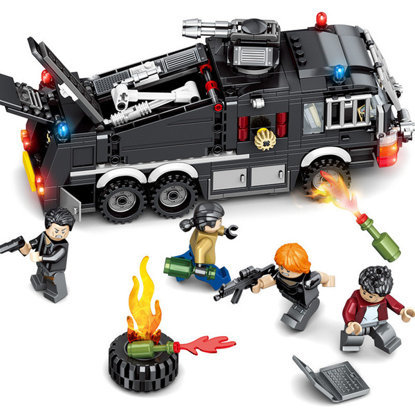 503pcs Children's Building Blocks Toy Compatible City Special Team Maintenance Water Tanker Special Police Series Gifts J190719