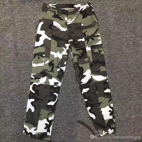 2019 nuevos VETEMENTS corrector cinta de camuflaje nieve pantalones multibolsillos paracaidista pantalones de hombre y de la mujer S-XL
