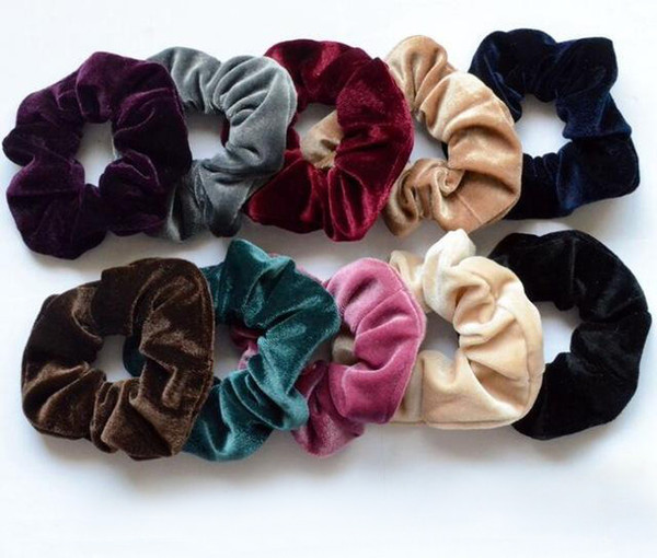 best selling In 2020,Women Elegant Velvet Solid Elastic Hair Bands Ponytail Holder Scrunchies Tie Hair Rubber Band Headband Lady Hair Accessories