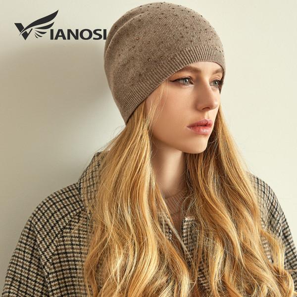 VIANOSI Marca cachemira de punto sombrero del invierno de las mujeres gruesas Mujer Gorros Rhinestone caliente del casquillo gorros de lana para mujeres