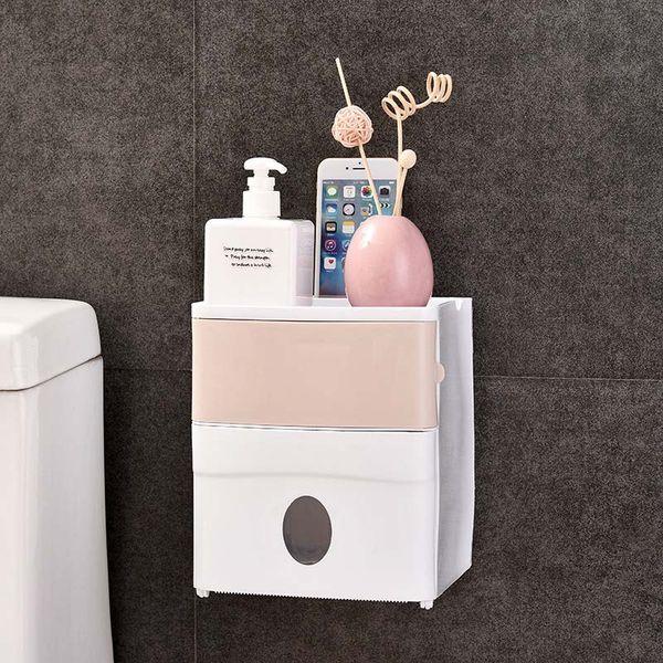 Baño Caja de pañuelos impermeable Baño de plástico Papel higiénico Soporte de pared Caja de almacenamiento de papel de doble capa Sin rastro Estante para baño