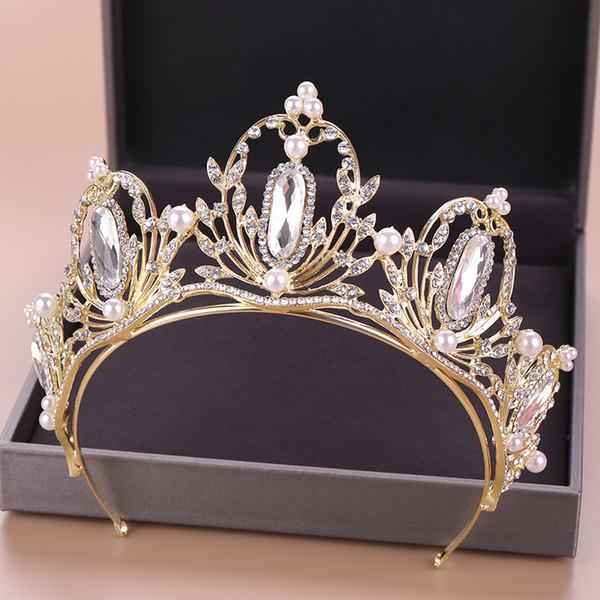 Cor do cabelo da Coroa de Ouro Pérola Acessórios Para Jóias de Cabelo de Strass Cabeça de Cristal Decoração de Pedra Ornamento Meio Diadema
