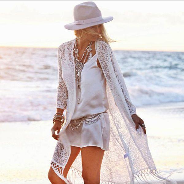TEELYNN женский кардиган с кружевами Бохо и блузка белая с длинным рукавом Бахрома летняя блузка пляжная Хиппи длинная женская блузка Blusa