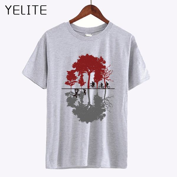 YELITE Tree Bicycle Cotton T Shirt 2019 Summer High Quality Custom Printed T-Shirt Hipster Men's Fashion Tops White Gray Tees