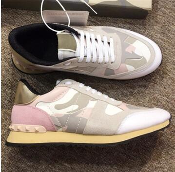 Lüks Tasarımcı Ayakkabı erkek Süet Dantel Rockrunner Kamuflaj Sneakers deri Flats Casual Ayakkabı Erkek Erkek Kadın Flats eğitmenler 21