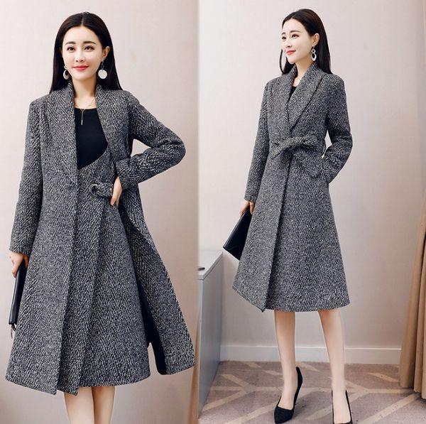 Trenchcoats Femal Herbstmode-Trends Anzug Damen Kleidung Zweiteiler Mantel + Kleid Damenoberbekleidung Neu