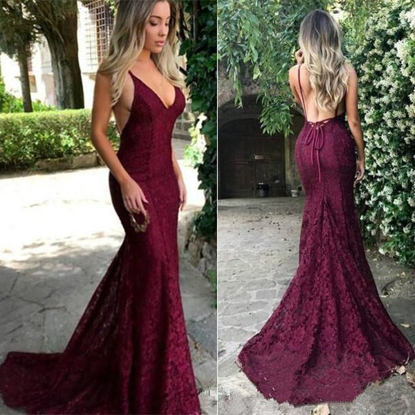 Burgundy Lace Prom Dresses Sexy Backless Long Mermaid 2019 New Fashionable Dark Red Evening Dress Party Gowns Custom Plus Size