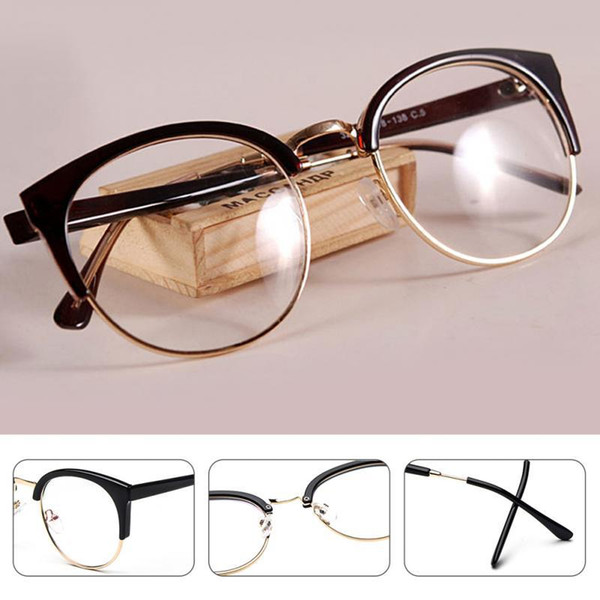 2017 Anti-Radiation Goggles Plain Glass Spectacles Fashion Women Metal+Plastic Semi Circle Frame Glasses *10