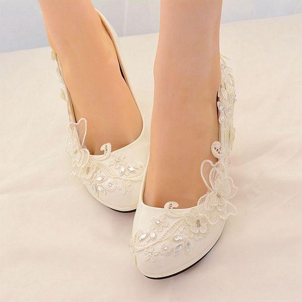 8CM tacchi alti dolce primavera estate scarpe da sposa sposa handmade pizzo cristallo signore luce bianca avorio partito danza pompa