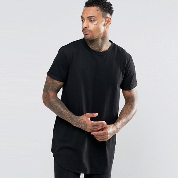 Men T Shirt Solid Color Tees 2019 New Arrival Mens Casual Long T-Shirt Hot Male Loose Summer T Shirts Top Tee Clothing