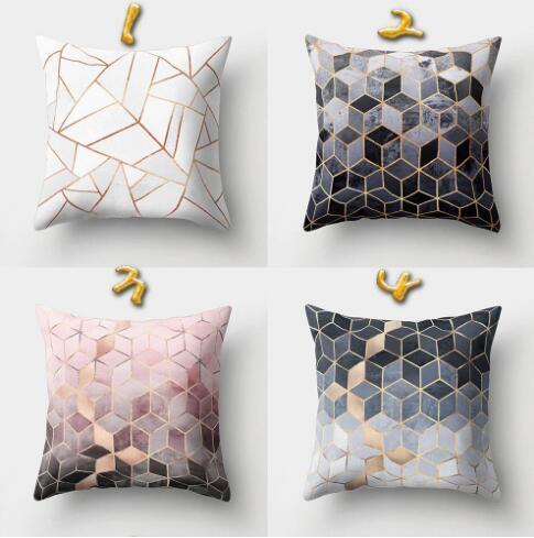 Style Coussin Géométrique Polyester Taie d'Oreiller Noir Et Blanc Décoratif À La Maison Coussins Couverture Pour Canapé Voiture