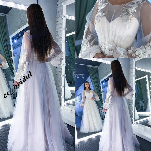 Gothic Wedding Dresses Western Country Style 2019 Sexy Illusion Long Sleeves Boho Wedding Dresses Bridal Gowns With Flower Vestidos De Novia