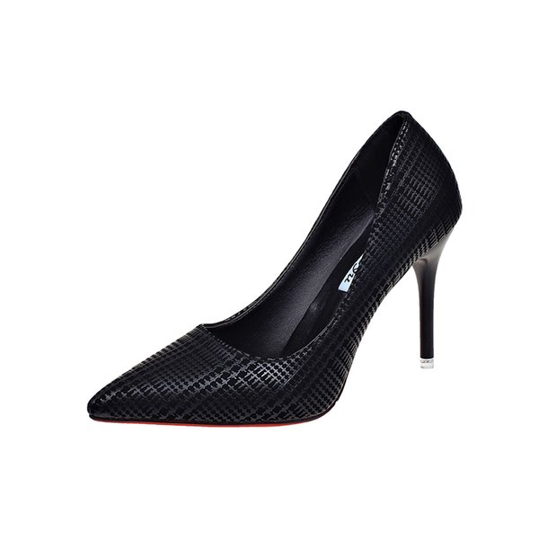 Designer Dress Shoes Autumn new women's high heels Korean fashion black pointed professional single Korean plaid wild work