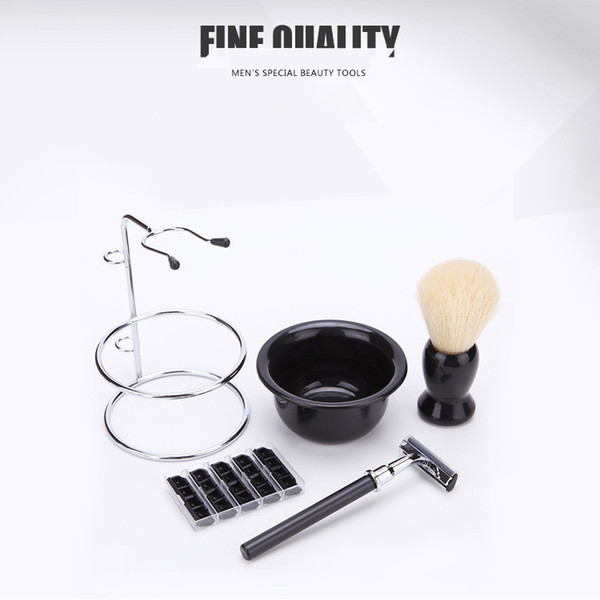 top popular Shaving Care Set Shaving Brush Stainless Steel Stand Soap Bowl Professional Beard Moustache Care Tool Father or Men's Gift 2021