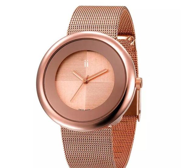 Luxury Women Simple Shinning Dress Watches Elegant Stainless Steel Rose Gold Watches High Quality Lady Rhinestone Quartz Wristwatches