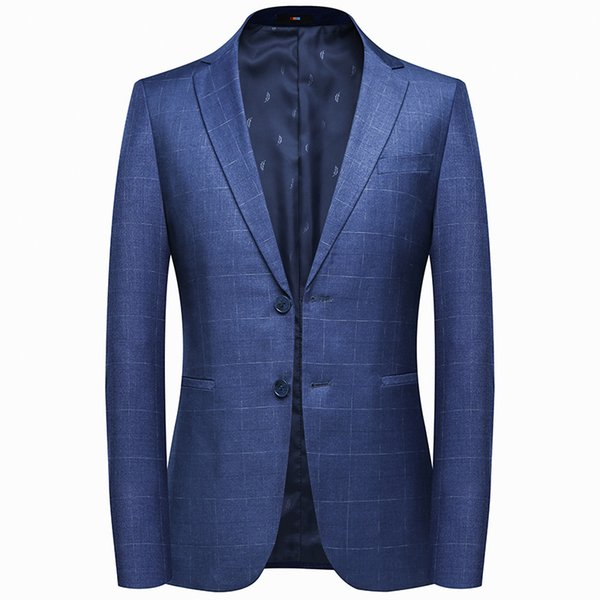 New Design Plaid Men's Blazers Two Button Slim Fit Jacket Coat Spring Fall Casual Blue Men Blazer Street Style Daily Jacket Only