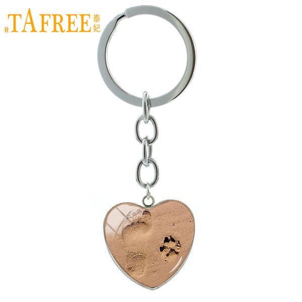 TAFREE Fashion Dog lover jewelry vintage Footprint Dog Paw Print keychain Baby Feet heart pendant shower key chain ring HP507